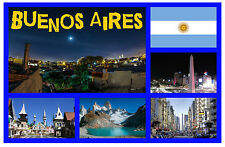 BUENOS AIRES, ARGENTINA - SOUVENIR NOVELTY FRIDGE MAGNET - FLAGS / SIGHTS GIFTS