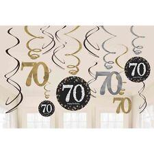 12 x settantesimo compleanno appendere SWIRLS NERO E ARGENTO GOLD PARTY DECORAZIONI 70 anni