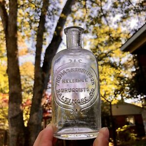 Blown Medicine Bottle Thomas & Thompson Reliable Druggists Baltimore MD Early