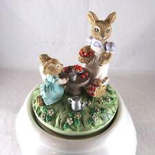 Vintage Mouse Musical Teapot Shape Enesco Its A Small World Ceramic Mice Rotates