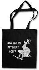 HOW YA LIKE MY MEAT NOW? SHOPPER SHOPPING BAG Deer Hunter Jagd Hunt Rack Vegan