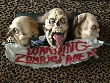 Life Size Severed Head WARNING ZOMBIES Sign Plaque Halloween Prop Decoration-NEW