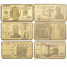 WR World Money Bill Dollar Pound Ruble Euro Gold Clad Bar Set Collector Gifts