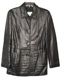 Liz Claiborne Leather Jacket Button Up Pea Coat Black Women's Size Small