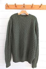 BARBOUR PANTONE heavy wool cableknit crewneck sweater heather green- Sz. XL