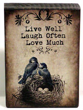 Live Laugh Love Birds and Nest Custom Wood Block Shelf Sitter Sign Wall Plaque