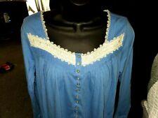 Eileen West Blue Long Sleeve Nightgown Size S