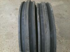TWO Front Triple Rib Tractor Tires 7.50x16, 750x16, 750-16 Eight Ply with Tubes