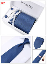 Mens Tie Set Dress Silk Tie Cufflinks Hanky Tie Clip Gift Box Blue with Patterns