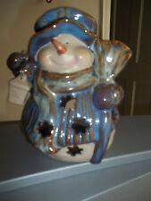 SNOWMAN TEA LIGHT CANDLE HOLDER CERAMIC