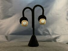 18k Gold White Jade Earrings