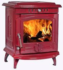 11.5KW Lilyking 657 Red Enamel Cast Iron Multi Fuel Boiler Stove - STOVE SALE