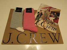 NWT  J.Crew Womens  Casual  2 Pairs  Socks  One Size  Striped  Pink  Green