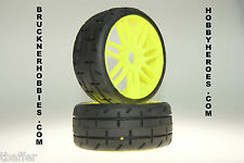 1:8 GRP GTY01-S1 XX SOFT  (2) Rubber GT Treaded Tires  Yellow  Rims FREE SHIP