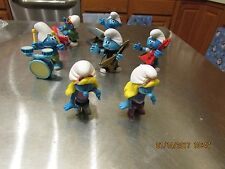 Lot of 7 Music Band Smurf Pvc Figures