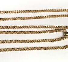 18k Solid Yellow Gold Italian Flat Curb/ Link Chain Necklace, 22Inches. 5.45 Gr