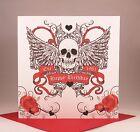 SKULL AND WINGS Personalised Birthday Card - Biker Tattoo Rocker Goth Punk