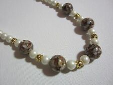 "Beaded Set (Gold, 18"") Pearl and Mother of Pearl"