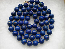 Antique Vintage Retro 14K Gold Lapis Lazuli 10MM Beads Beaded Necklace 88.5 g