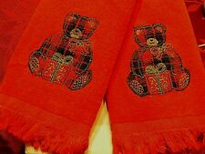 Fingertip towels matching set of 2 teddy bear in plaid on red