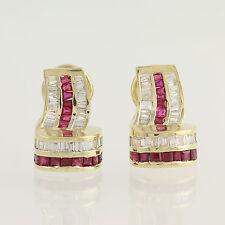 Ruby & Diamond Earrings - 14k Yellow Gold July Omega Closures Pierced 3.10ctw