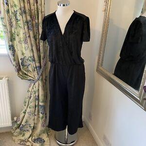TU Size 16 short sleeve black velolur velvet jumpsuits party occasion wide leg