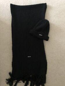 DKNY girls Black Winter Hat & Scarf - Fab