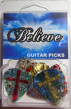 """""""BELIEVE"""" Guitar Pick Pack, 6 Picks .71mm Clamshell, pics, Cross Pearl Religious"""