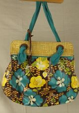 Fossil Key Tote Floral Teal Canvas Leather Trim Floral