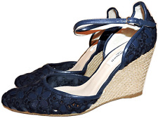 L.k. Bennett Petal Leather Embroidery Wedge Sandal Shoe Pump Espadrille 39.5-8.5