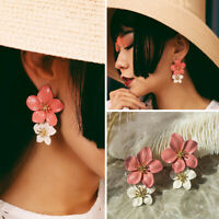 Women Enamel Geometric Flower Earrings Crystal Ear Dangle Stud Jewelry gift new