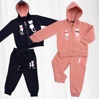 Costume de jogging Enfants Tailleur Maison Fille Sweat à Capuche Polaire Chattes