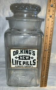 ANTIQUE DR KING NEW LIFE PILLS LABEL UNDER GLASS APOTHECARY MEDICINE DISPLAY JAR