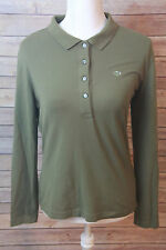 Lacoste size M womens shirt Green 1/2 Button Long Sleeve Sweaters