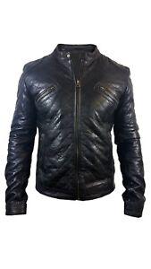 Men's Real Black Leather Biker Vintage Jacket Black Quilted by Alexander Caine