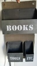 "Military style green metal and canvas ""books,tools,etc."" wall pocket / organizer"