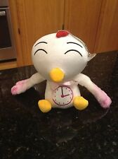 Rooster Chicken Plush Stuffed Animal Pink Wings Time Clock on Tummy Suction Cup