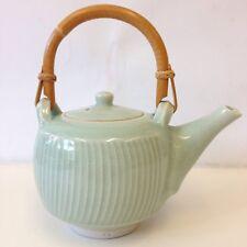 Studio Pottery Ceramic Glazed Teapot Bamboo Handle Marked C G Carol Greenaway?