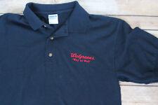 Men's Walgrees Employee Uniform Polo Short Sleeve Blue Shirt Medium