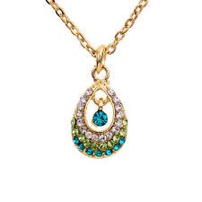 Fancy Princess Teal Aqua Blue Green Crystal Teardrop Pendant Necklace 67