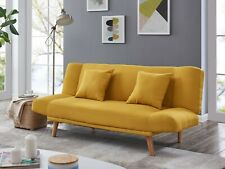 Fabric Sofa Bed 3 Seater Mustard and Blue Padded Cushion Sofabed Recliner