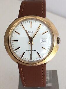 Mens Vintage 1971 Timex Marlin Sunburst Manual Wind Watch Working Order Vgc