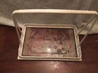Vintage White Wicker and Wood Large Handled Serving Tray