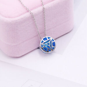 Iron Man Reactor Core Pendant Necklace Gift Women Girl Silver 925 Jewelry Marvel