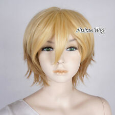 Mixed Blond Layered 30CM Women Girls Short Anime Cosplay Heat Resistant Full Wig