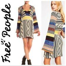 Free People Patchwork Bell Sleeve Sweater Dress Long Sleeve Medium Boho New  NWT