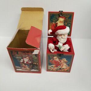 Vtg 1988 Enesco Santa Claus Circa 1910 White Christmas Music Box, Tested