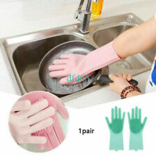 5PC Magic Silicone Rubber Dish Washing Gloves 2 in 1 Scrubber Cleaning red