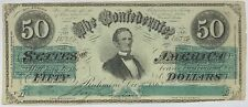 1863 Confederate $50 Note Fine 1st Series Cut Cancelled Currency Paper Money