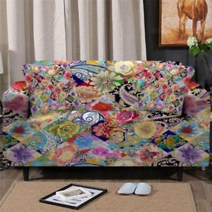 Patchwork Floral Pink Sofa Chair Couch Cushion Stretch Cover Slipcover Set Decor